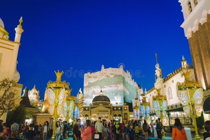 Everland主题乐园看法在晚上 免版税图库摄影