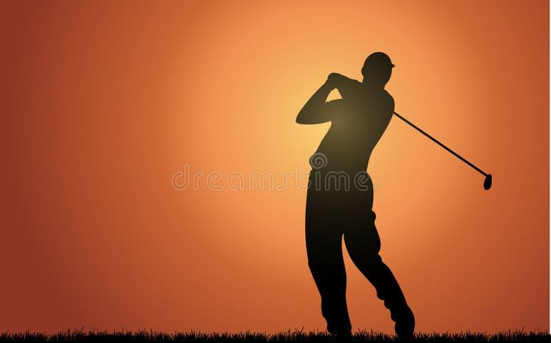 Everning Golfspieler lizenzfreie abbildung
