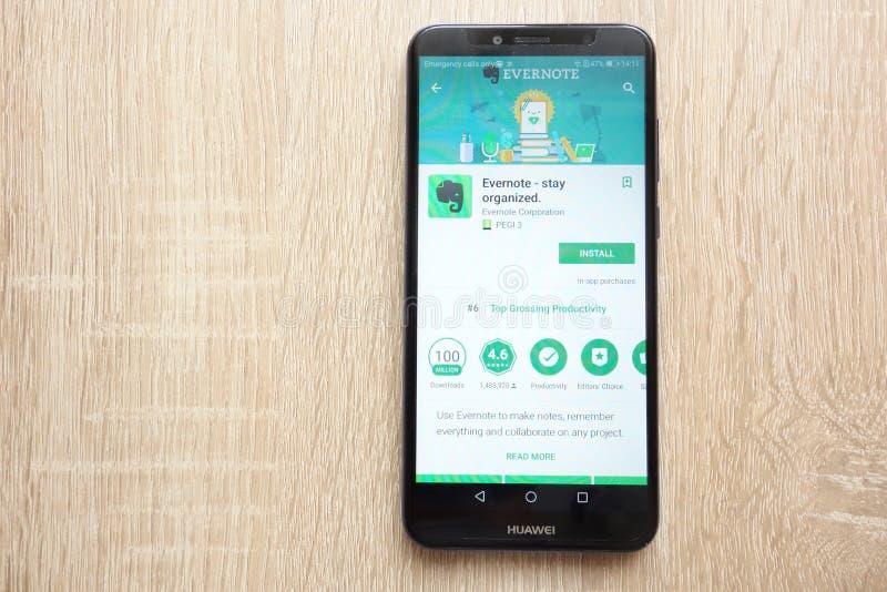 Evernote - pobyt organizujący app na google play store stronie internetowej wystawiającej na Huawei Y6 2018 smartphone fotografia royalty free