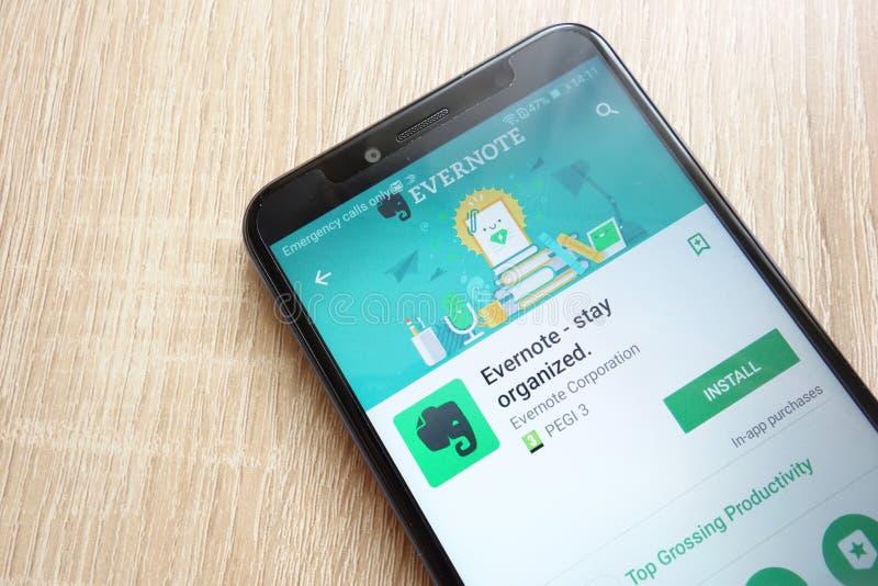 Evernote - pobyt organizujący app na google play store stronie internetowej wystawiającej na Huawei Y6 2018 smartphone fotografia stock