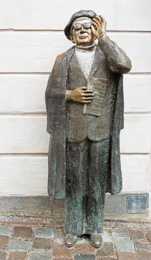 Evert Taube Monument (1890-1976), one of the famous Swedish composers. Writers, and actors. Monument is against the wall of the Central Bank of Sweden ( royalty free stock image