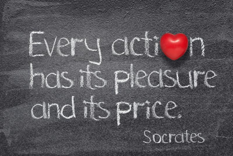 Every action Socrates. Every action has its pleasures and its price - quote of ancient Greek philosopher Socrates written on chalkboard with red heart symbol stock photos