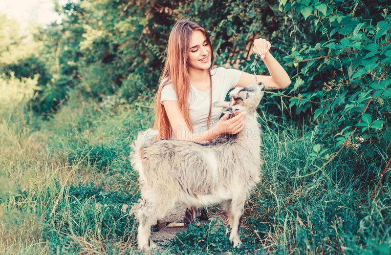 Every animal is different. woman vet feeding goat. farm and farming concept. Animals are our friends. happy girl love. Goat. village weekend. summer day. Love stock photo