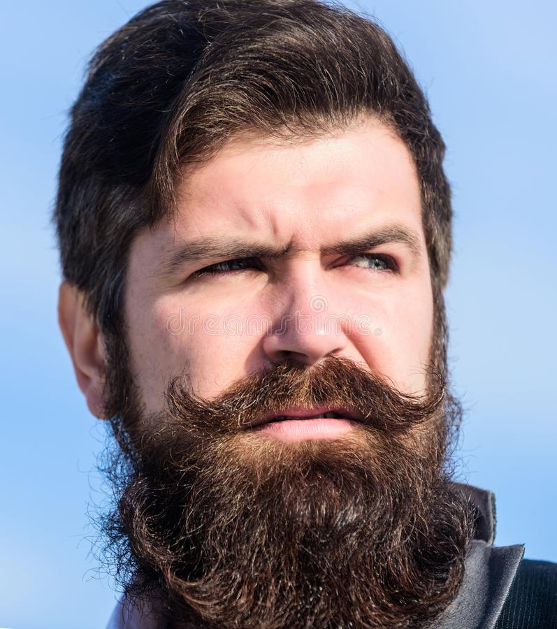 Every beard completely unique. Facial hair beard and mustache care. Beard fashion trend. Invest in stylish appearance. Grow thick beard fast. Man bearded royalty free stock images