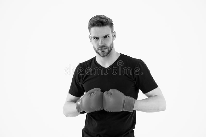 Every day as struggle. Sportsman boxer with gloves. Boxing concept. Man athlete boxer concentrated face with sport royalty free stock image