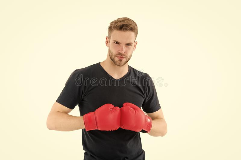 Every day as struggle. Sportsman boxer with gloves. Boxing concept. Man athlete boxer concentrated face with sport royalty free stock photo