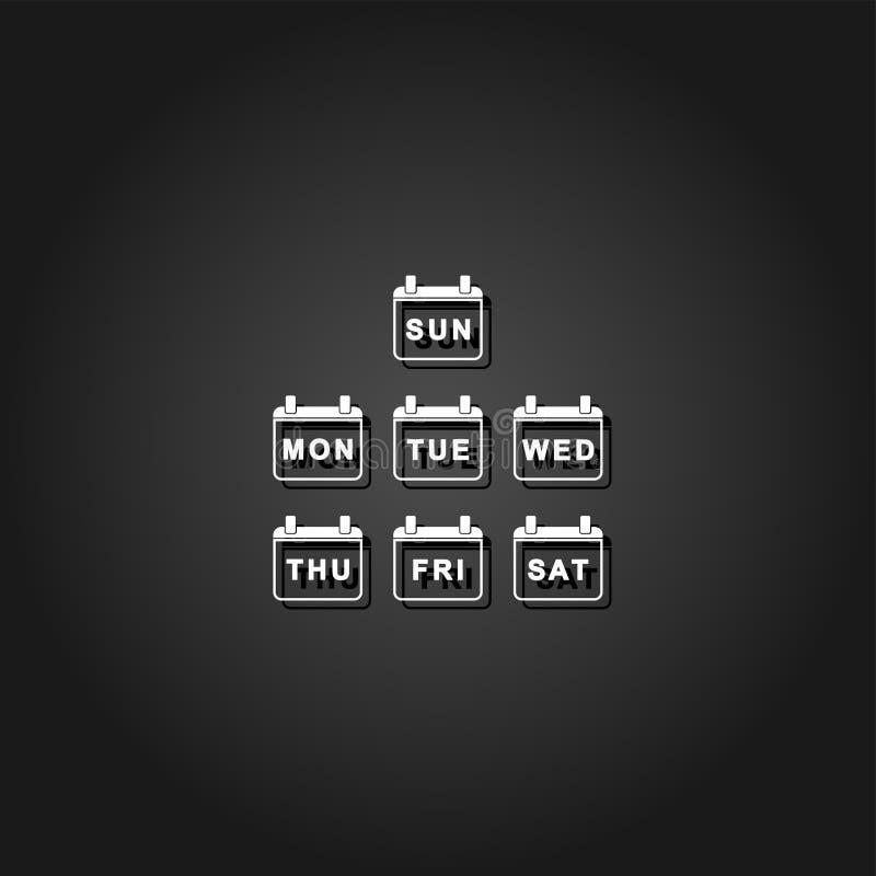 Every Day Week Calendar icon flat royalty free illustration