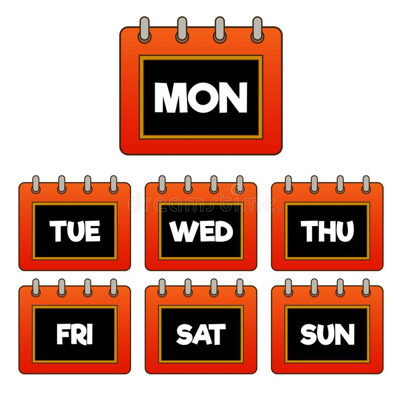 Every day of the week red, gradient calendar/pad icon. Black and white in the middle stock illustration
