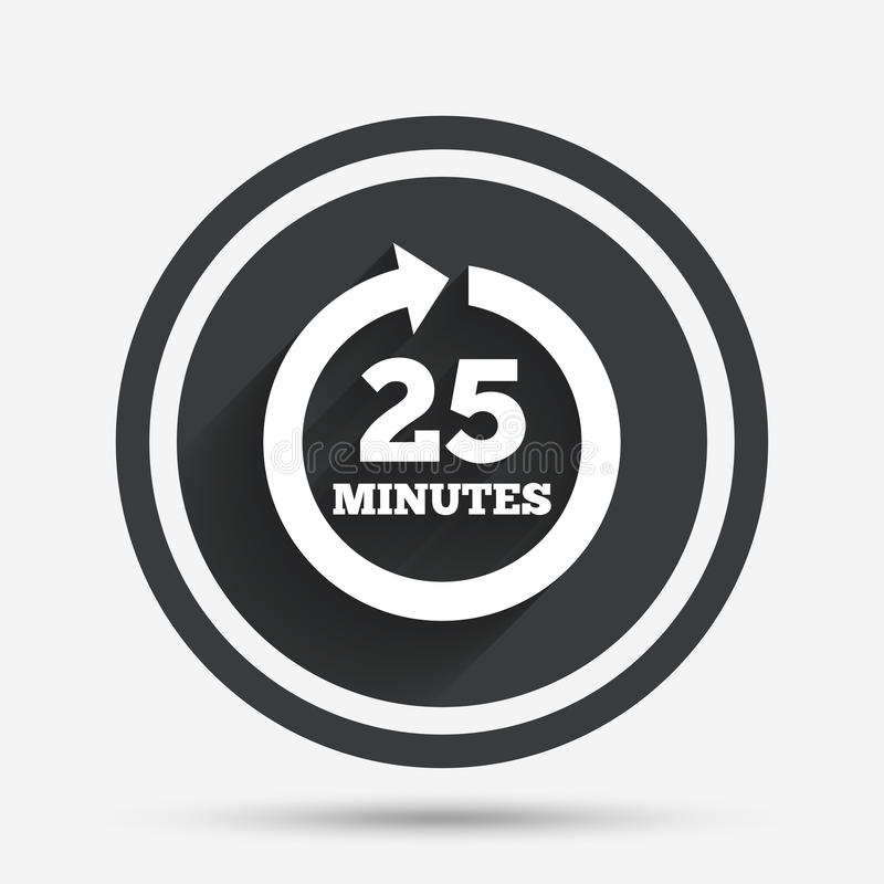 Every 25 minutes sign icon. Full rotation arrow. royalty free illustration