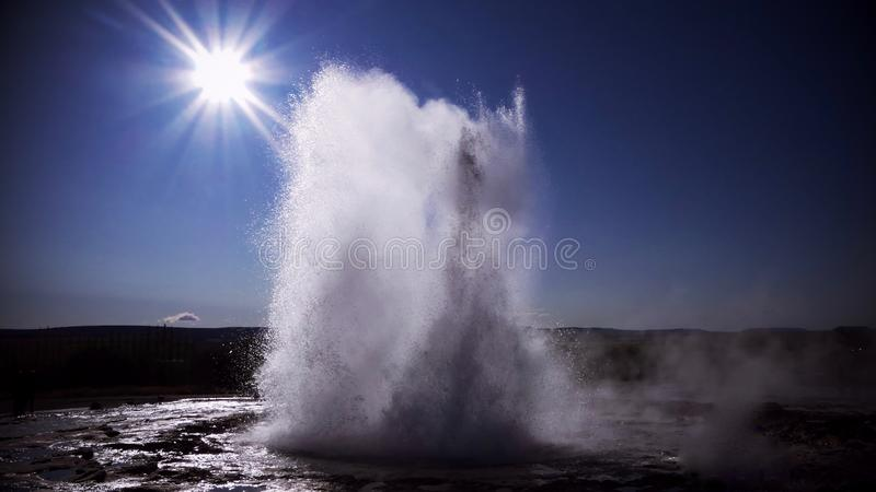 The Golden Circle and Strokkur geysir. Every 3-4 minutes, you will see this magical moment royalty free stock photos