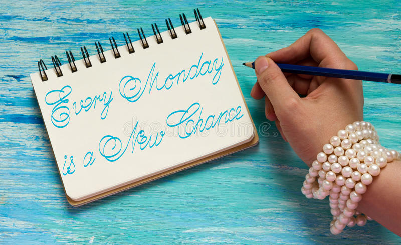 Every Monday is a New Chance. Inspirational quotes lettering for postcards, business ideas, announcements, write a note with beautiful handwriting of a female royalty free stock photos
