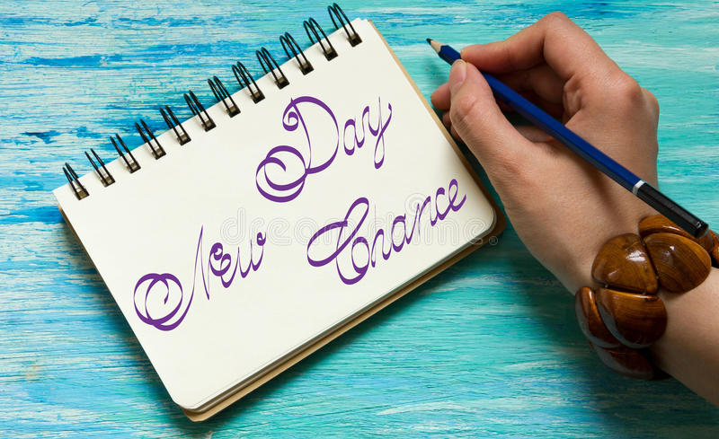 Every Monday is a New Chance. Inspirational quotes lettering for postcards, business ideas, announcements, write a note with beautiful handwriting of a female stock photos