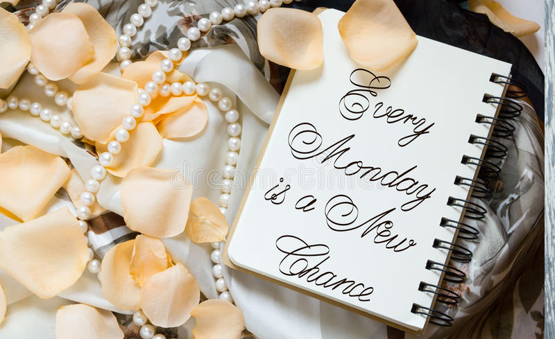 Every Monday is a New Chance. Inspirational quotes lettering for postcards, business ideas, announcements, write a note with beautiful handwriting of a female stock photography