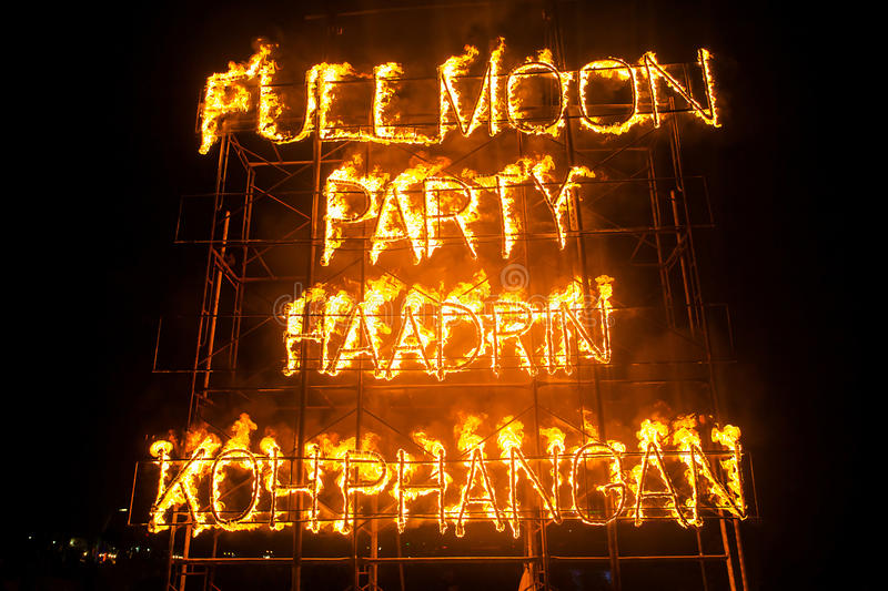 Every month Phangan beach Full moon party royalty free stock images