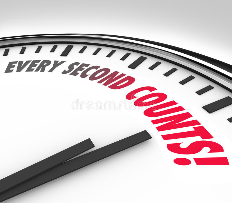 Every Second Counts Clock Countdown Deadline. Every Second Counts words on a white round clock face to illustrate a countdown or deadline in a race, competition stock illustration