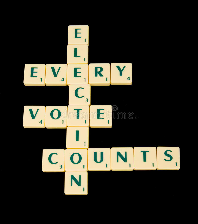 Every vote counts: election. An image of a cross-word type arrangement of interconnecting words based on election and underlining that every vote counts. The royalty free stock images
