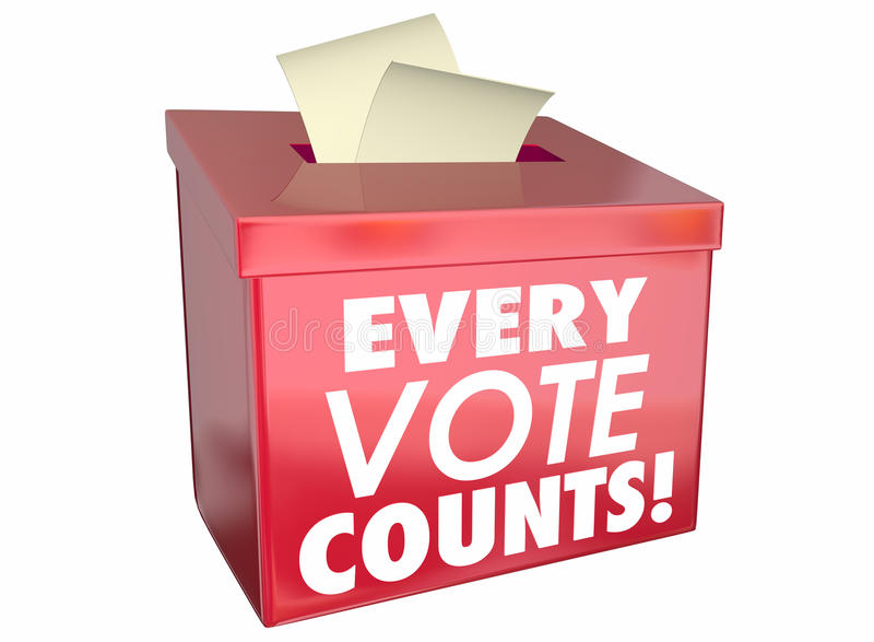 Every Vote Counts Matters Ballot Box. 3d Illustration stock illustration