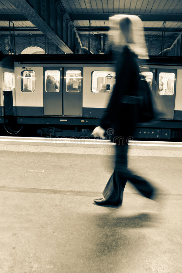 Everyday commuting. Commuting in London, with the famous metro called 'The Tube royalty free stock photo
