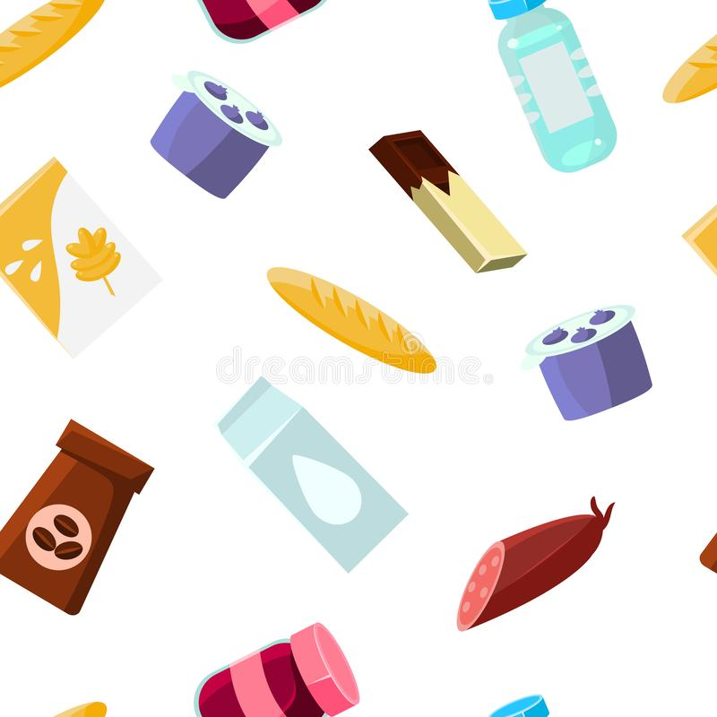 Everyday goods and food products Seamless Pattern, Design Element Can Be Used for Fabric, Wallpaper, Packaging Vector. Everyday goods and food products Seamless stock illustration