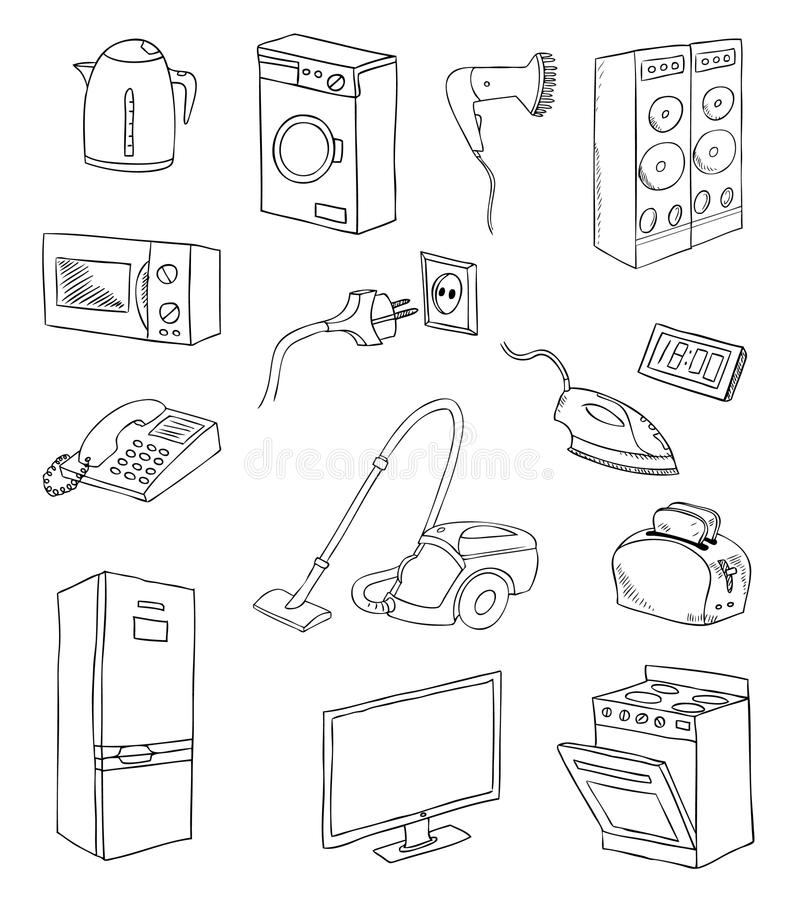 Free Everyday Household Appliances Set Stock Photo - 38017920