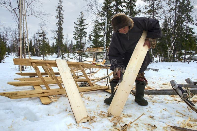 Everyday life of Russian aboriginal reindeer herders in the Arctic. stock photo
