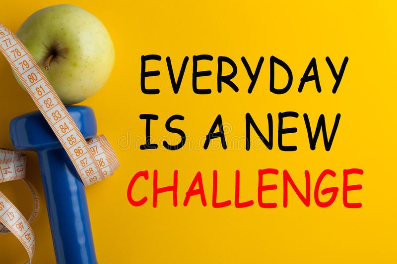 Every Day Is A New Challenge. EVERYDAY IS A NEW CHALLENGE. Motivational fitness quote. Concept sport, diet, fitness, healthy eating royalty free stock photos
