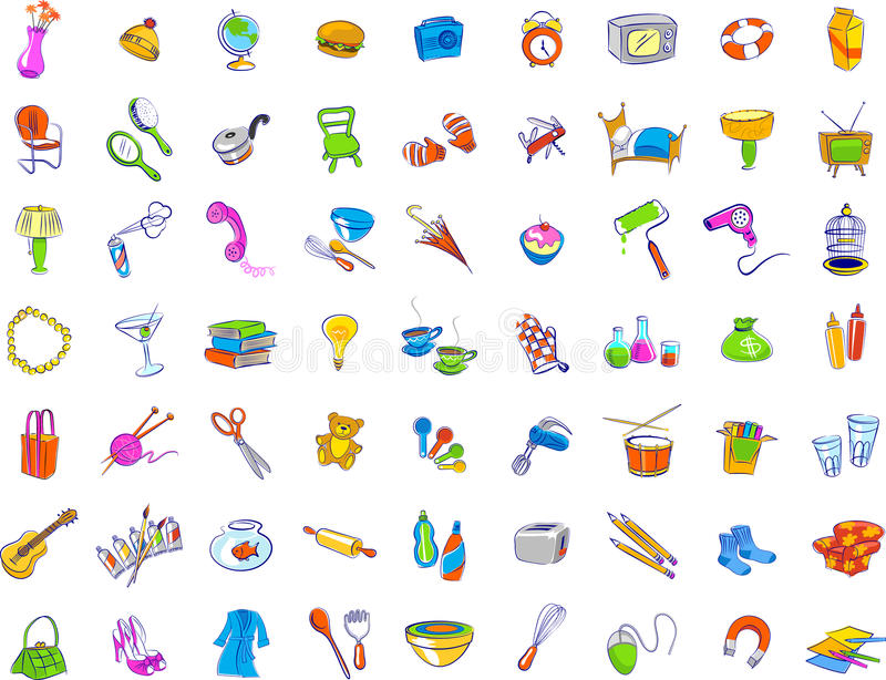 Everyday Objects Icons Stock Vector Image Of Hairdryer