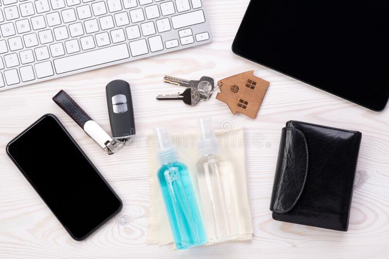 Everyday objects that need to be regularly cleaned with and antiseptic royalty free stock image
