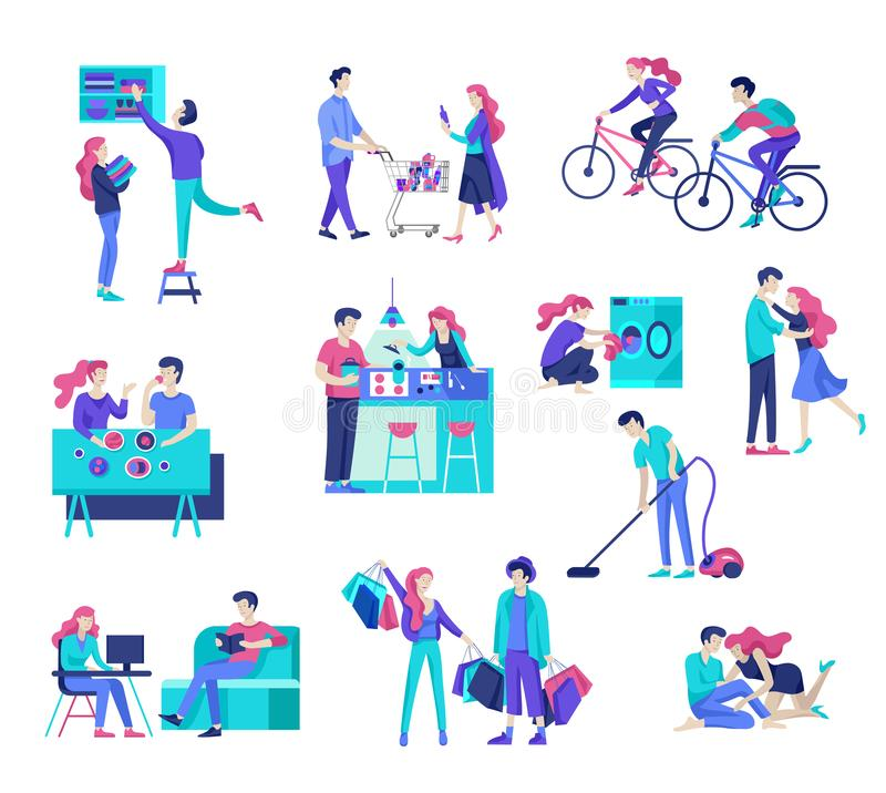 Everyday routine scenes and spend time together of young romantic couple. stock illustration