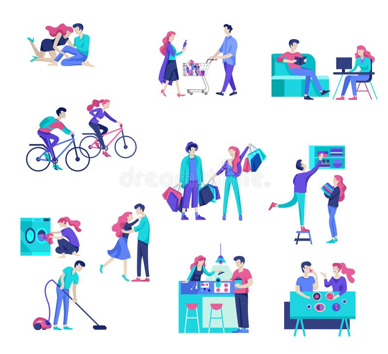 Everyday routine scenes and spend time together of young romantic couple. vector illustration