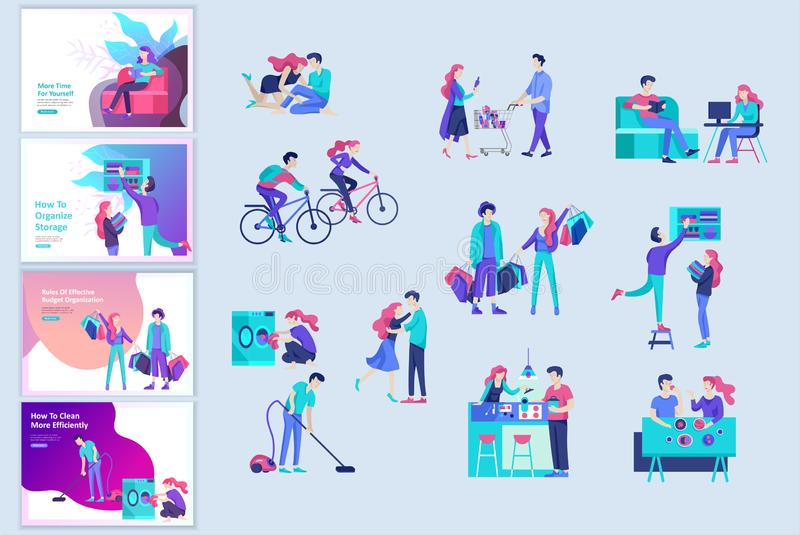 Everyday routine scenes and spend time together of young romantic couple. Pair of boy and girl. Vector people character stock illustration