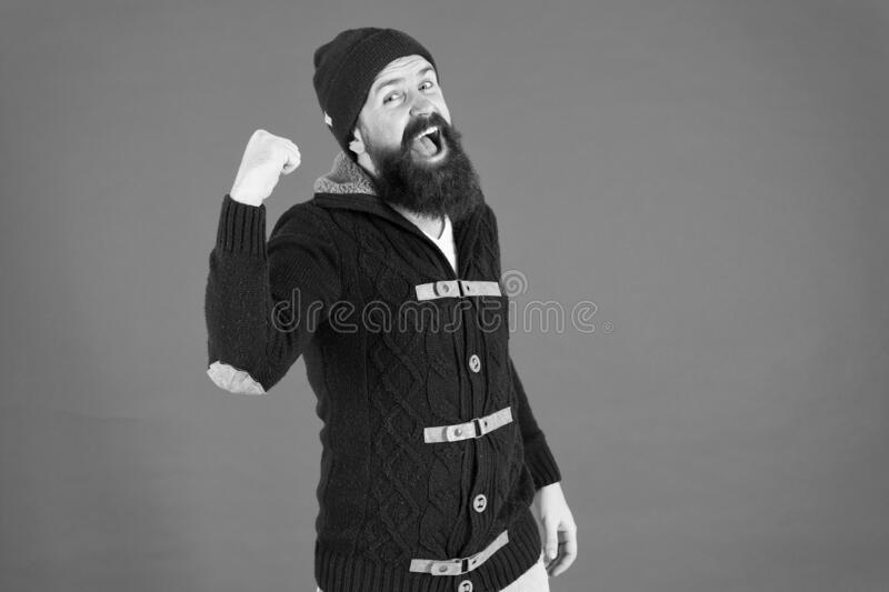 Everyday winner. get warm and comfortable. hipster mens jacket. happy man autumn style. beard care in winter. male royalty free stock photos