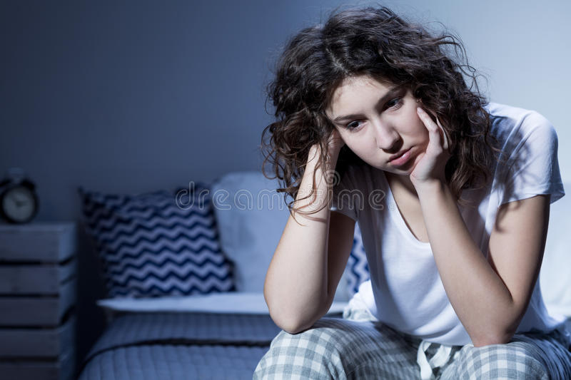 Everyday worries deprive her of good night's sleep royalty free stock image