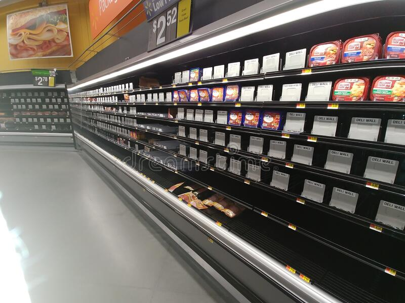 Empty shelves at a local market stock photography