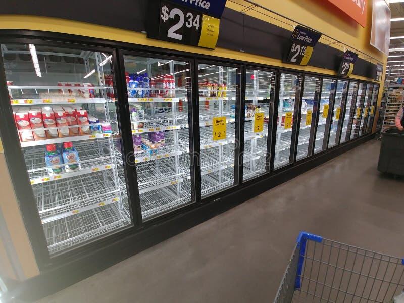 Empty shelves at a local market stock photos