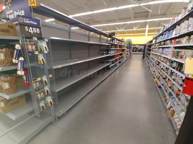Empty shelves at a local market stock photo