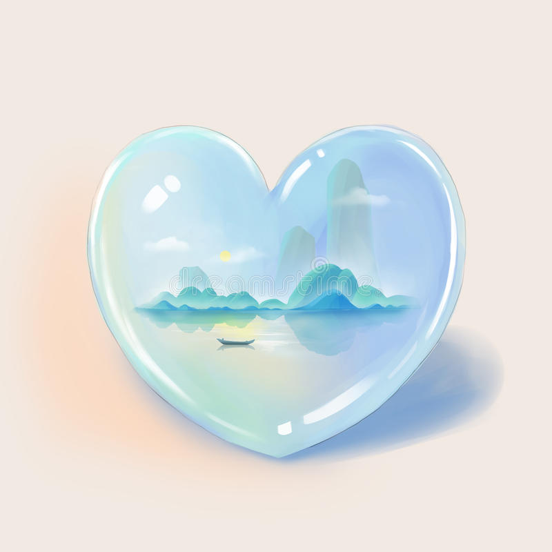 Everyone Has a Different Heart: This One Belongs to One Who Enjoys Mountains and Waters. ! Digital Artwork, Concept Illustration, Realistic and Abstract Ideas vector illustration