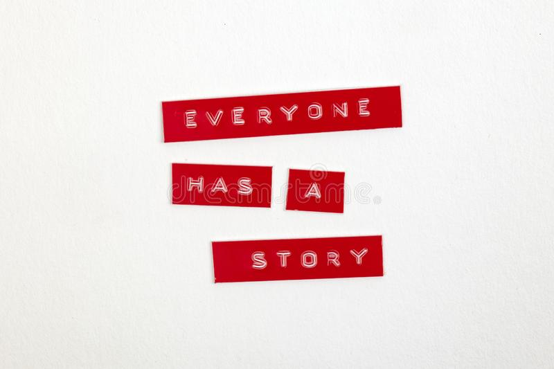 Everyone has a story. Concept Everyone has a story with a label printer on white bckground royalty free illustration