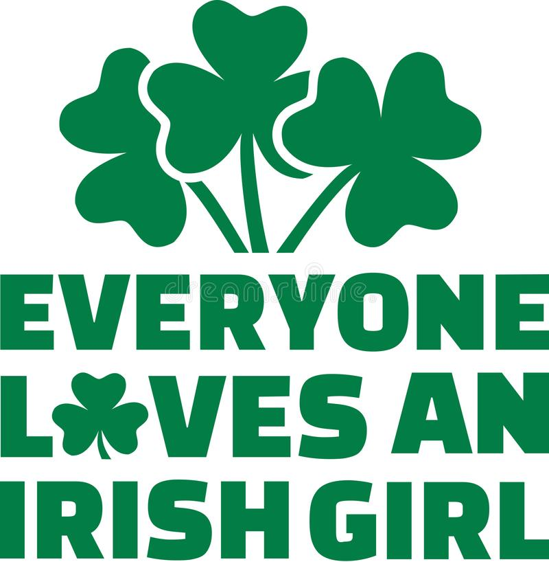 Everyone loves an irish girls with three clovers vector illustration