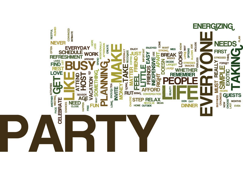 Everyone Needs To Party Text Background Word Cloud Concept royalty free illustration