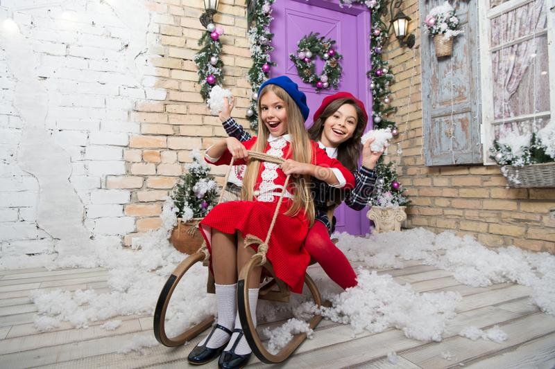 Everyone will get a present. Child enjoy the holiday. Happy new year. Winter. xmas online shopping. Family holiday royalty free stock photography