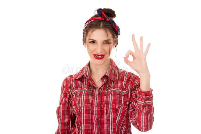 Everything będzie dobrze, kobieta pokazuje Ok znaka zdjęcie stock