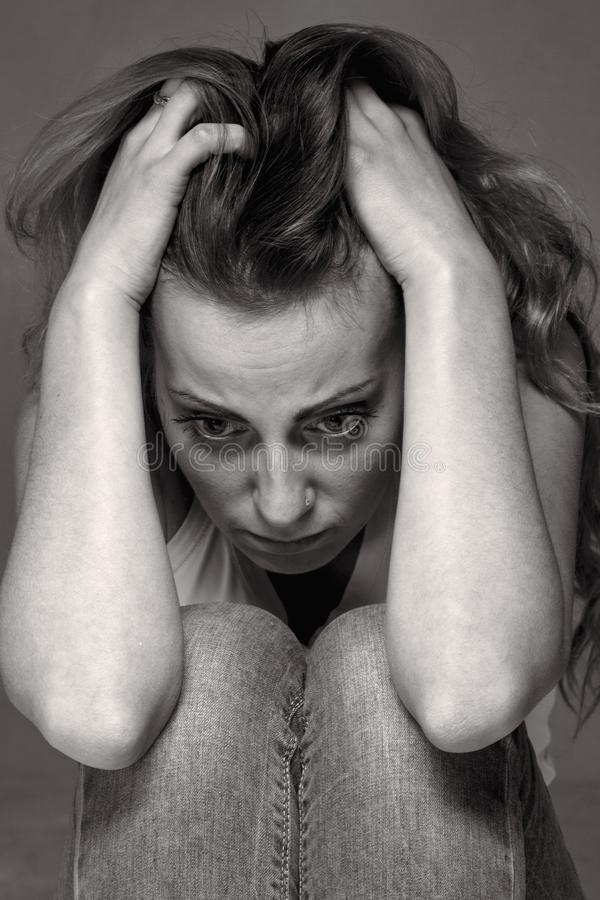 Everything is bad. Woman in depression alone with problems dif royalty free stock image