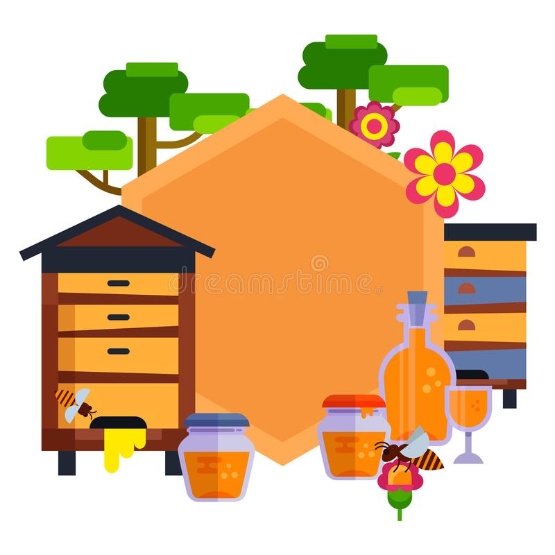 Everything for beekeeping and apiary cartoon vector illustration. Bee, honeycomb, beehive and honey jars. Apiary yellow stock illustration
