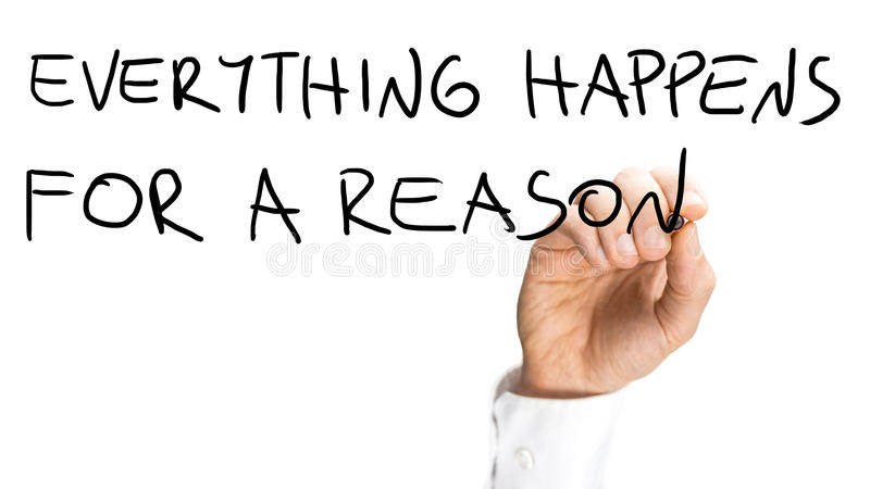 Everything happens for a reson. Male hand writing Everything happens for a reason on virtual screen royalty free stock image