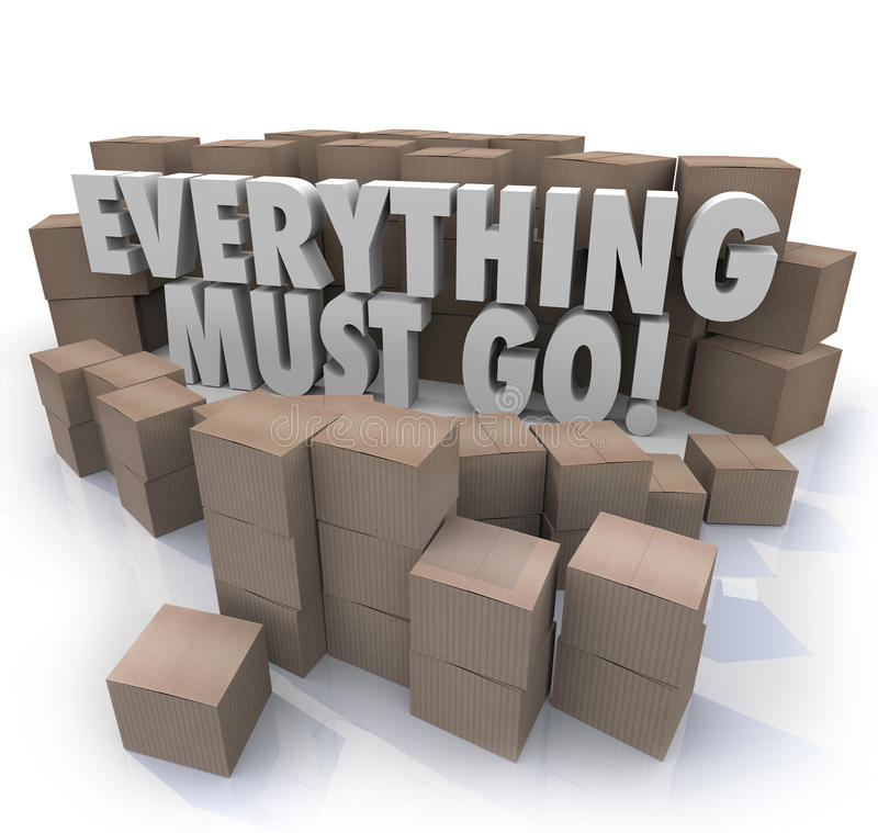 Everything Must Go Boxes Overstock Inventory Store Closing