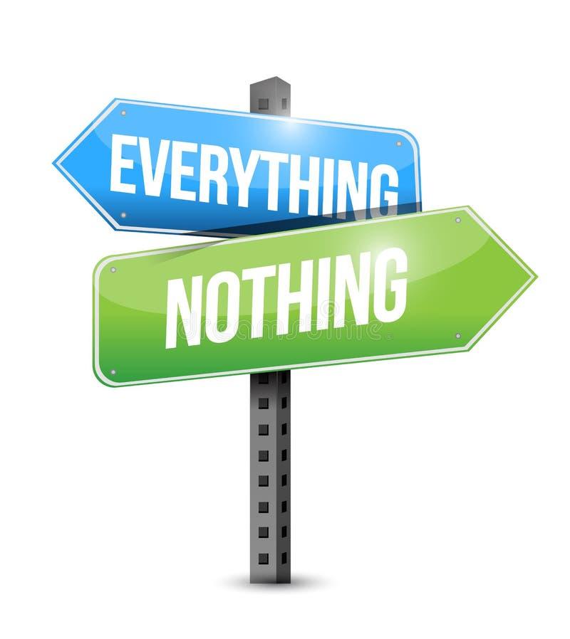 Everything nothing road sign illustration stock illustration