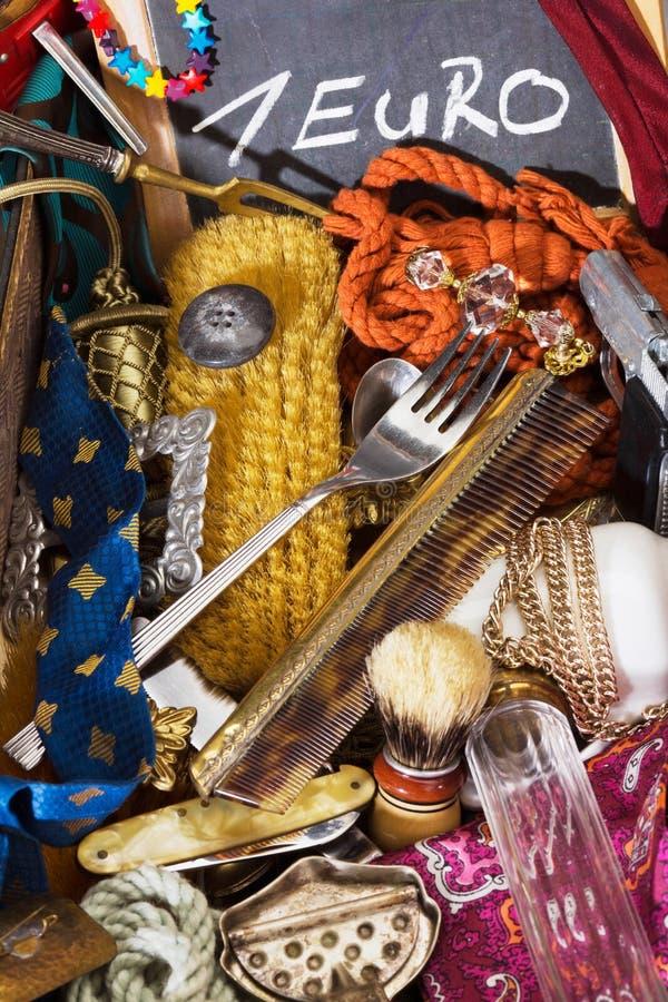Everything for one Euro flea market stock photos