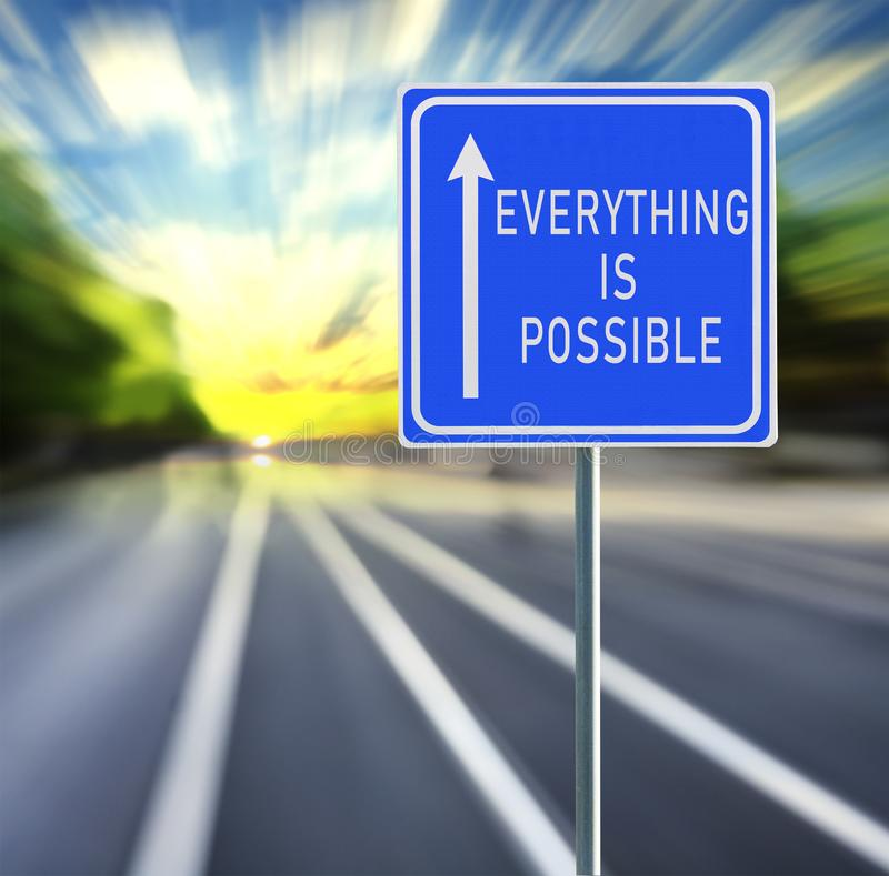 Everything Is Possible Road Sign on a Speedy Background With Sunset. royalty free stock image