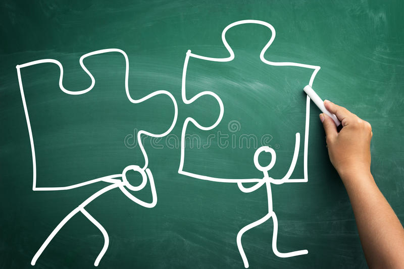 Everything is possible with teamwork stock photography